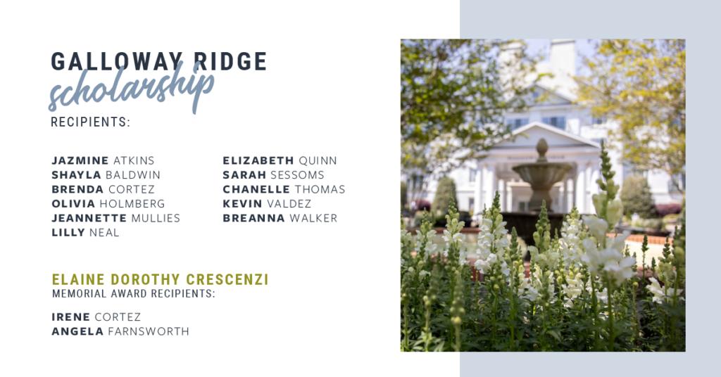 Galloway Ridge Investing in the Future Through Scholarship Fund